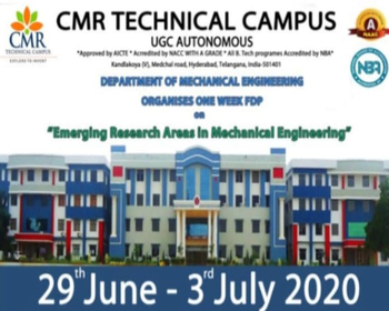 "Online FDP on ""Emerging Research Areas in Mechanical Engineering"""