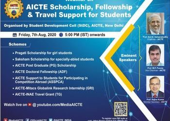 Webinar on AICTE Scholarship, Fellowship & Travel Support for Students