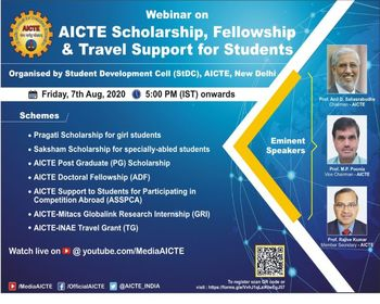 Webinar on AICTE Scholarship, Fellowship & Travel Support for Students