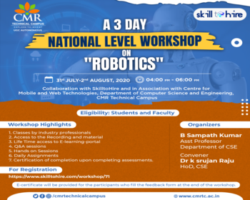 National Level Workshop on Robotics – Department of CSE